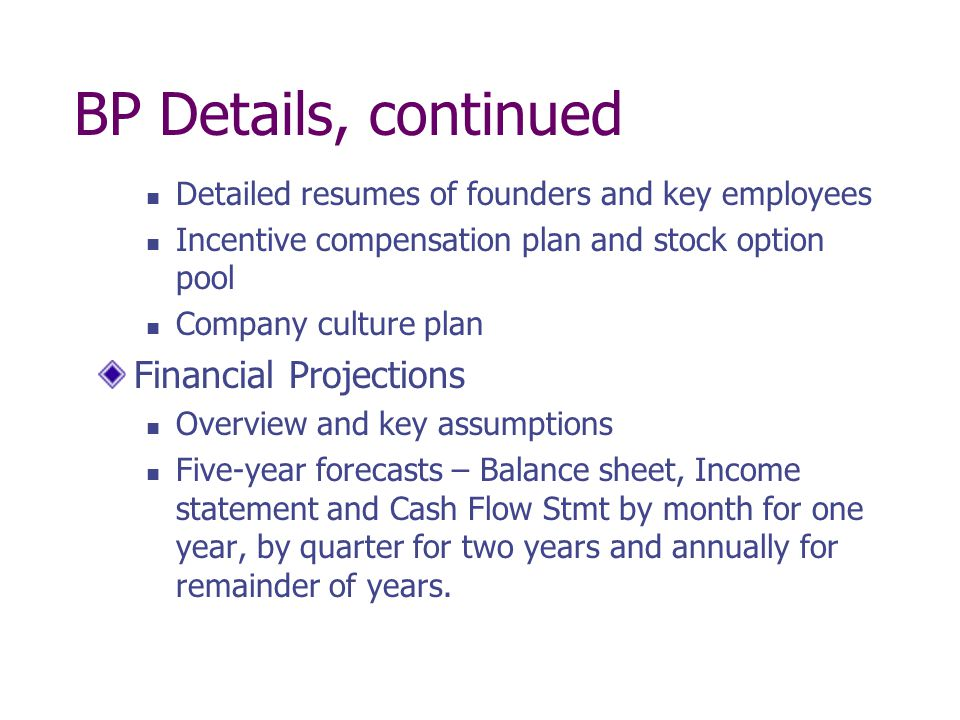 BP Details, continued Financial Projections