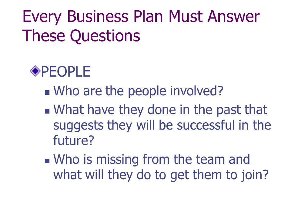 Every Business Plan Must Answer These Questions