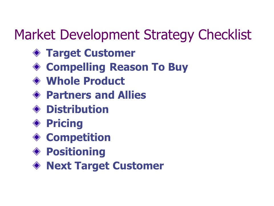 Market Development Strategy Checklist