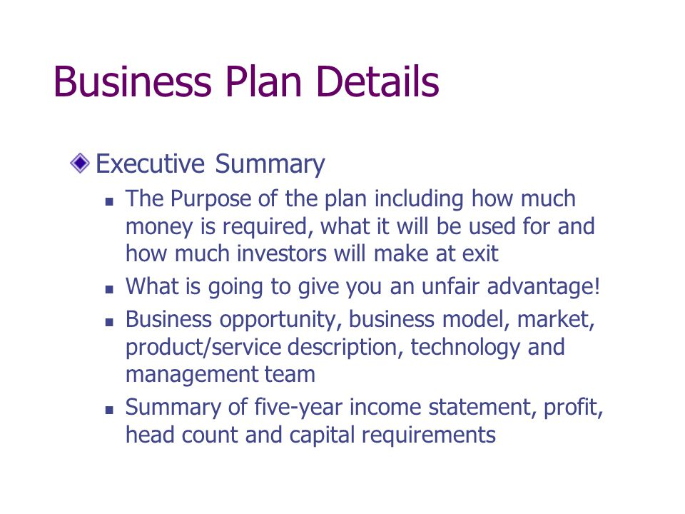 Business Plan Details Executive Summary