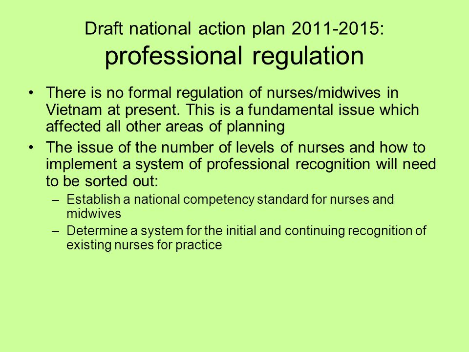 Draft national action plan 2011-2015: professional regulation