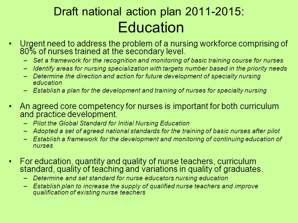 Draft national action plan 2011-2015: Education