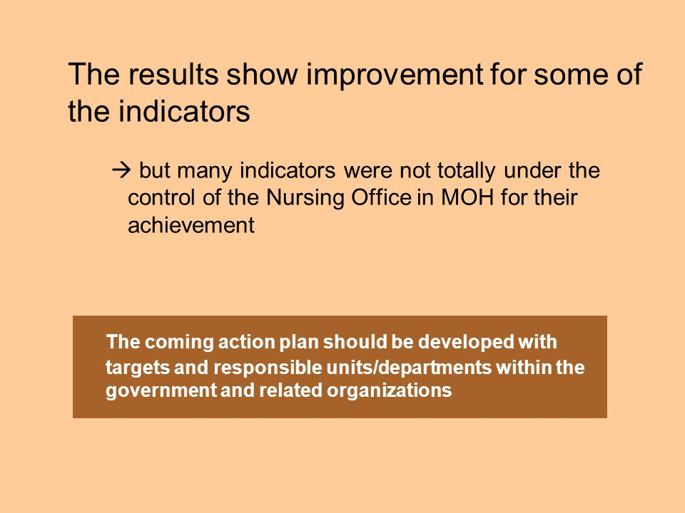 The results show improvement for some of the indicators