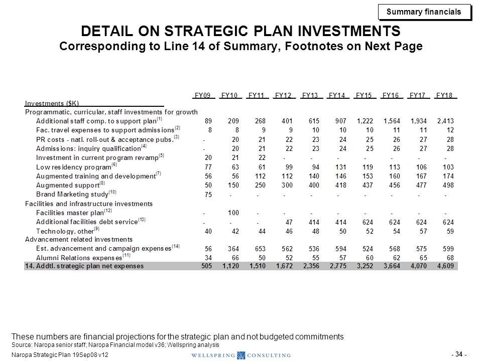 FOOTNOTES FOR STRATEGIC PLAN INVESTMENTS