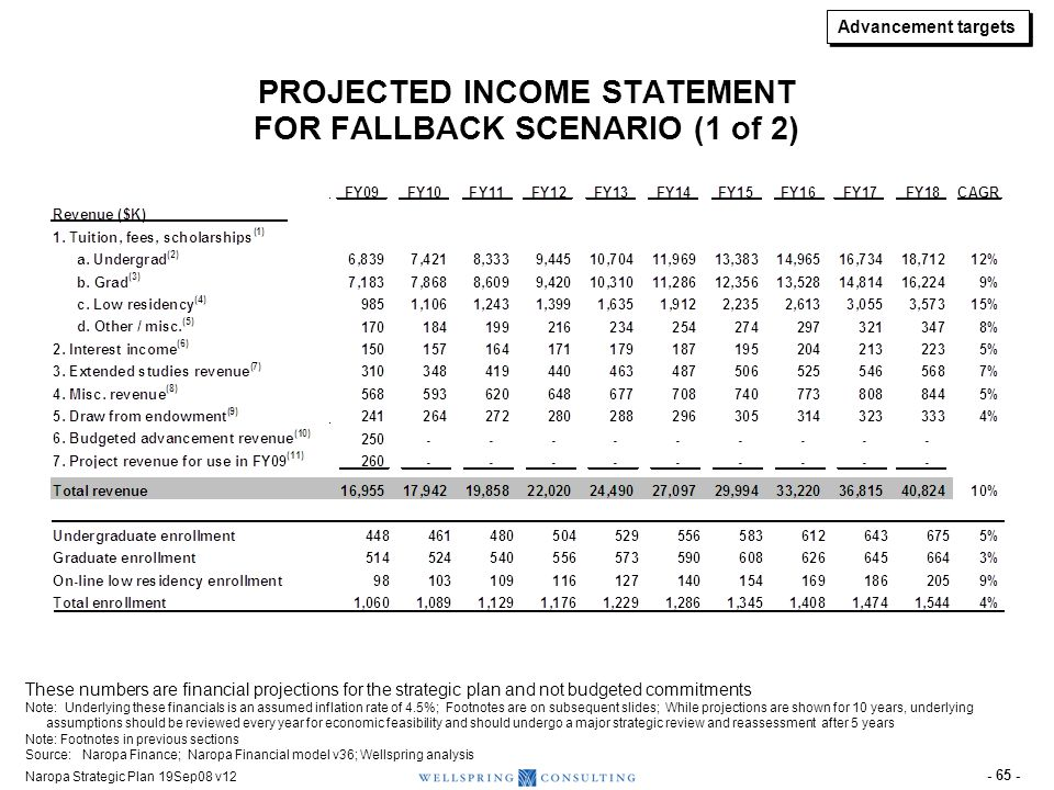 PROJECTED INCOME STATEMENT FOR FALLBACK SCENARIO (2 of 2)