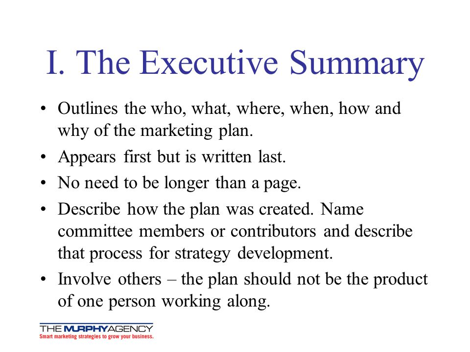 I. The Executive Summary