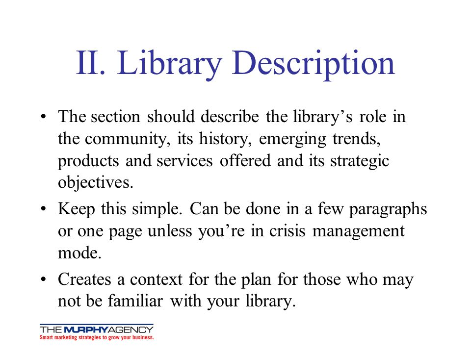 II. Library Description