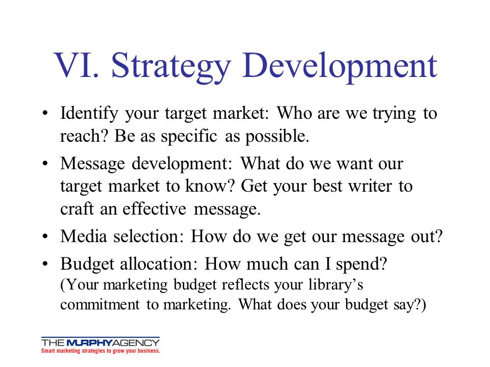 VI. Strategy Development