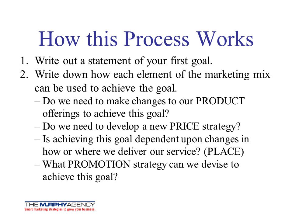 How this Process Works Write out a statement of your first goal.