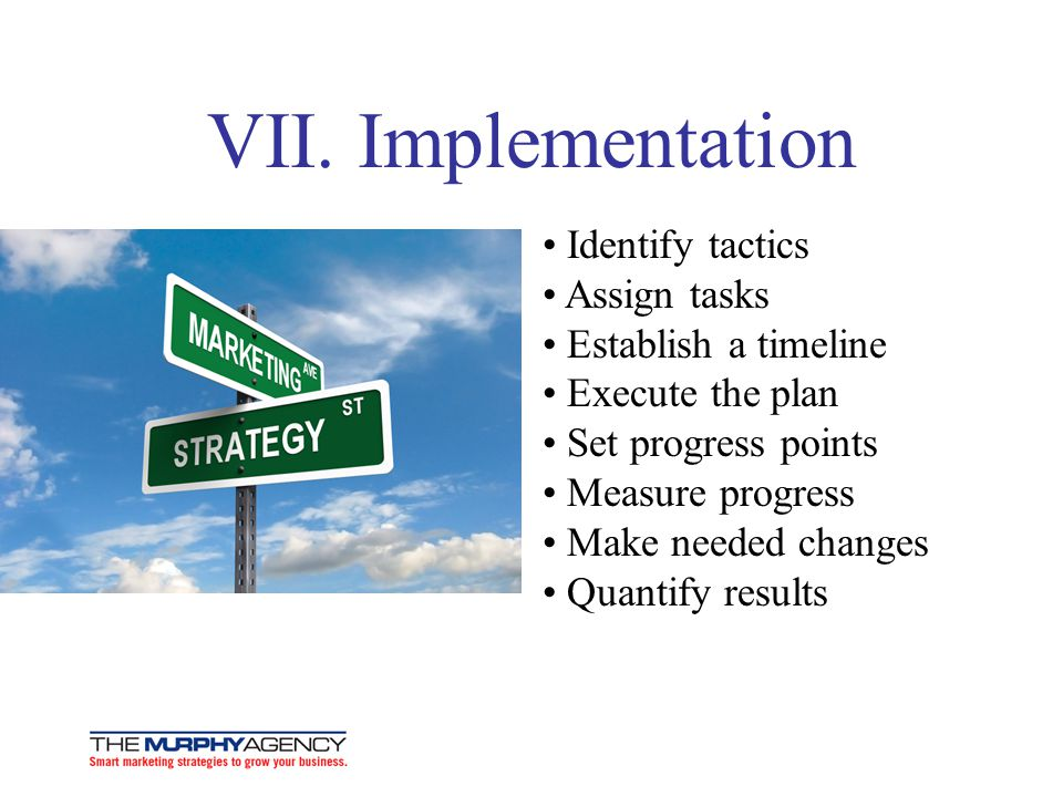 VII. Implementation • Identify tactics • Assign tasks