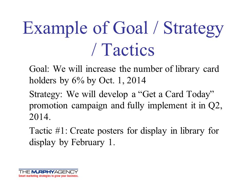 Example of Goal / Strategy / Tactics