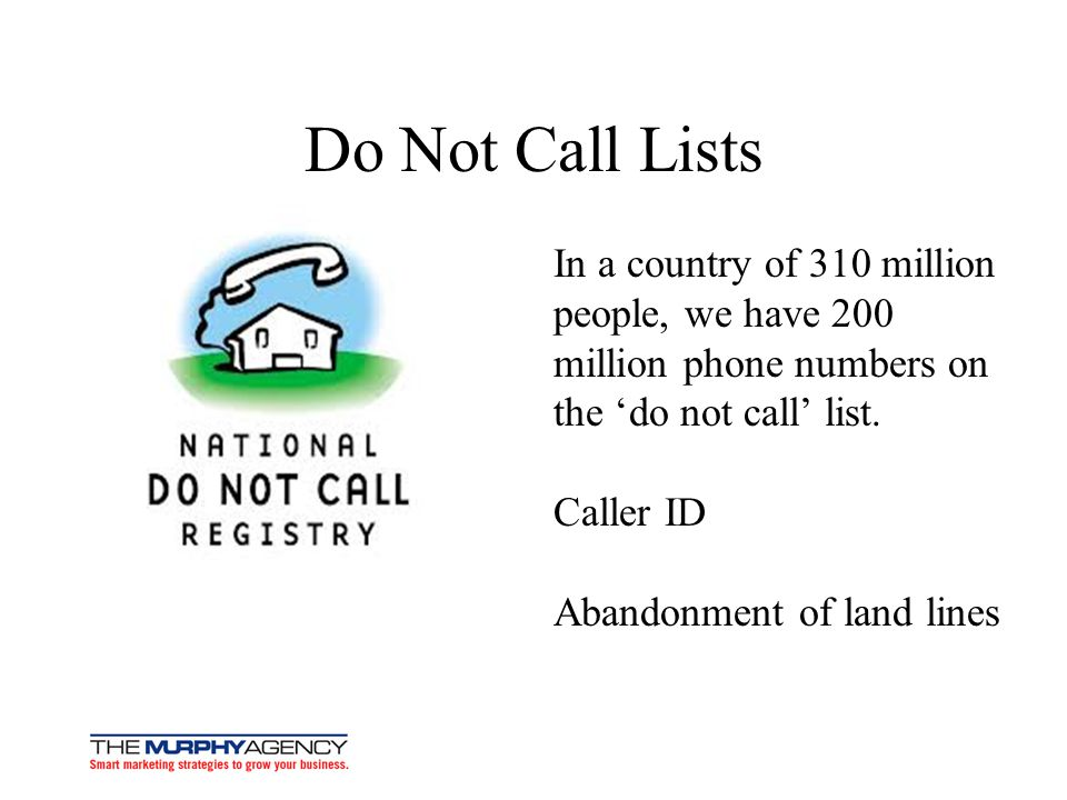 Do Not Call Lists In a country of 310 million people, we have 200 million phone numbers on the 'do not call' list.