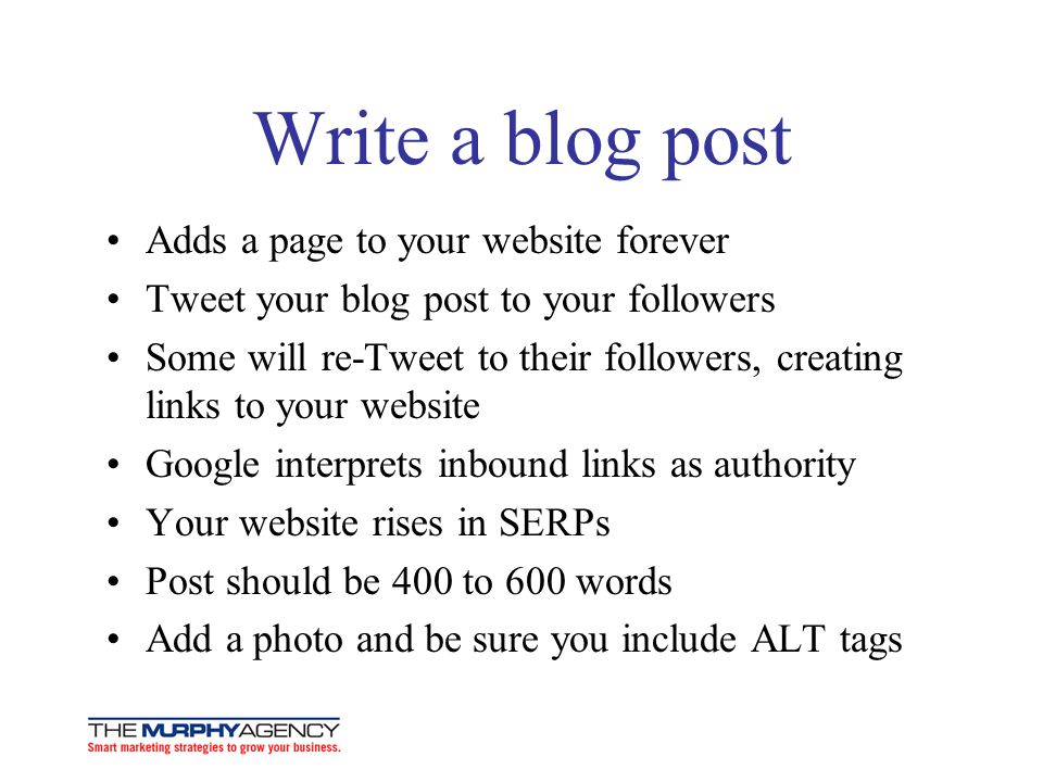 Write a blog post Adds a page to your website forever