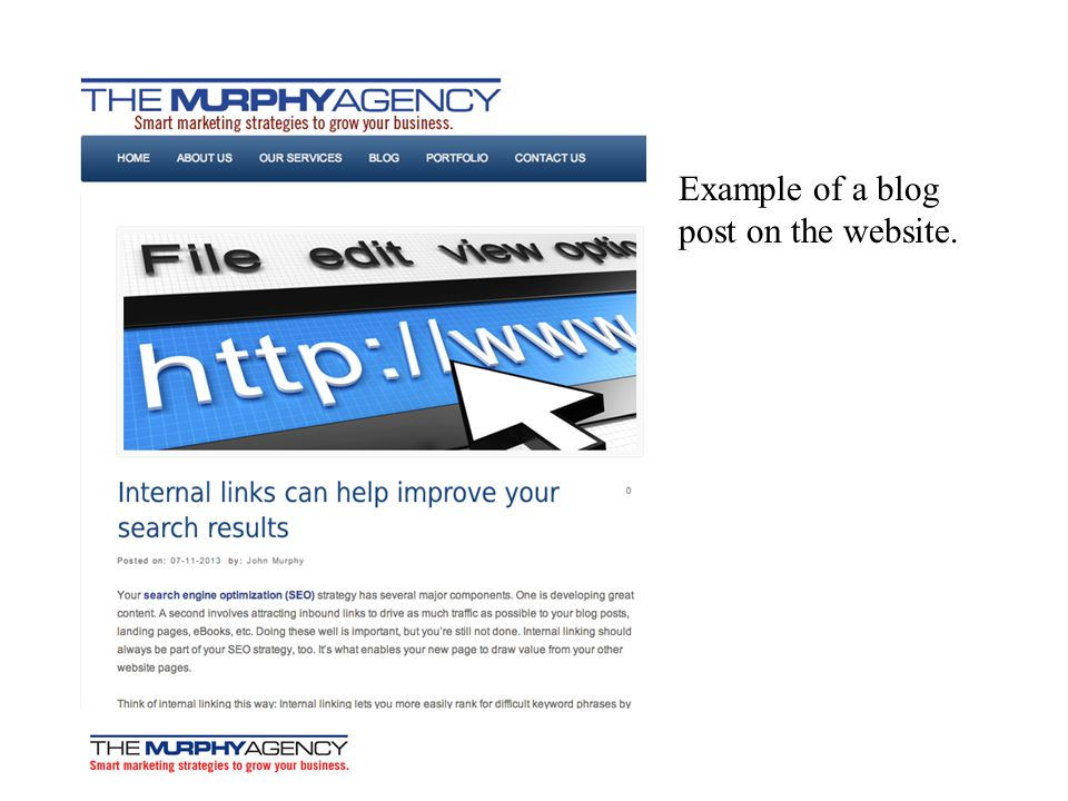 Example of a blog post on the website.