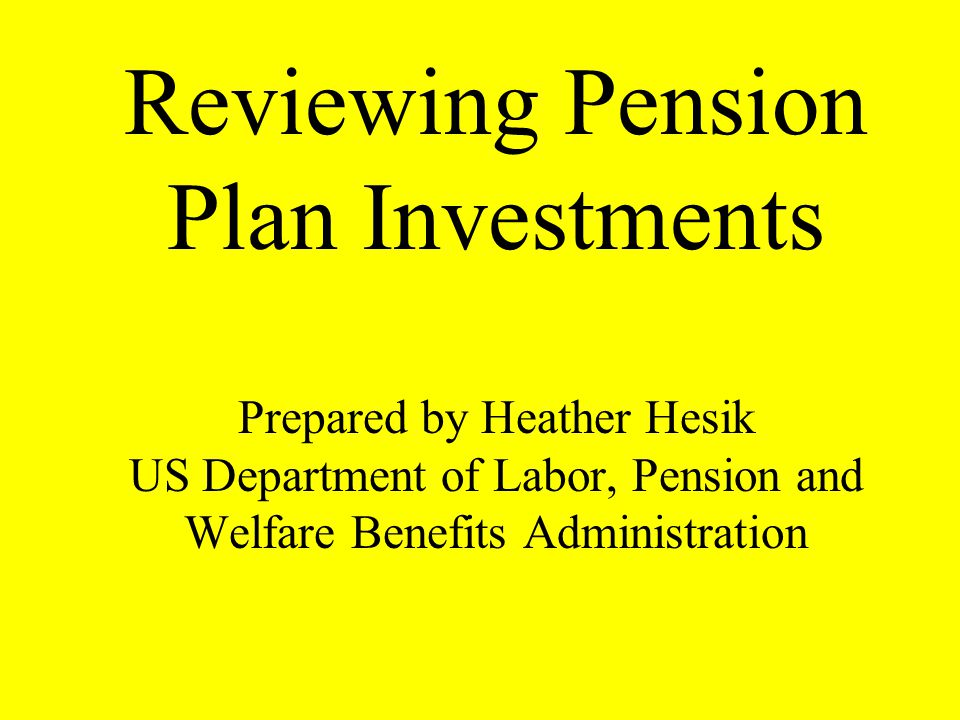 Reviewing Pension Plan Investments Prepared by Heather Hesik US Department of Labor, Pension and Welfare Benefits Administration