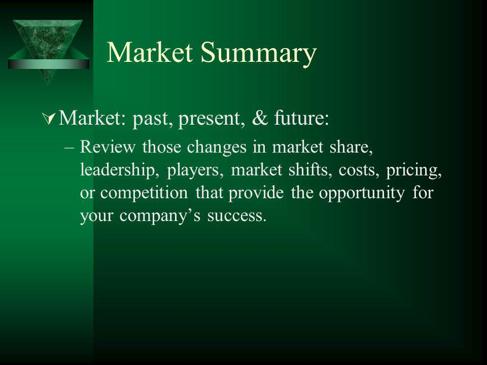 Market Summary Market: past, present, & future: