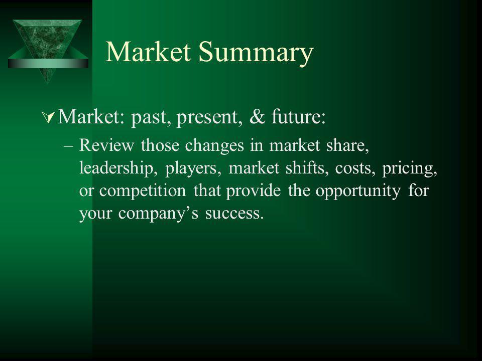 Market Summary Market: past, present, & future: