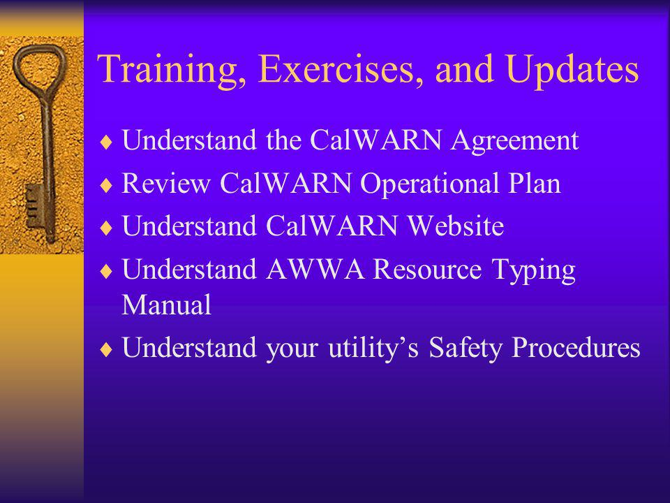 Training, Exercises, and Updates