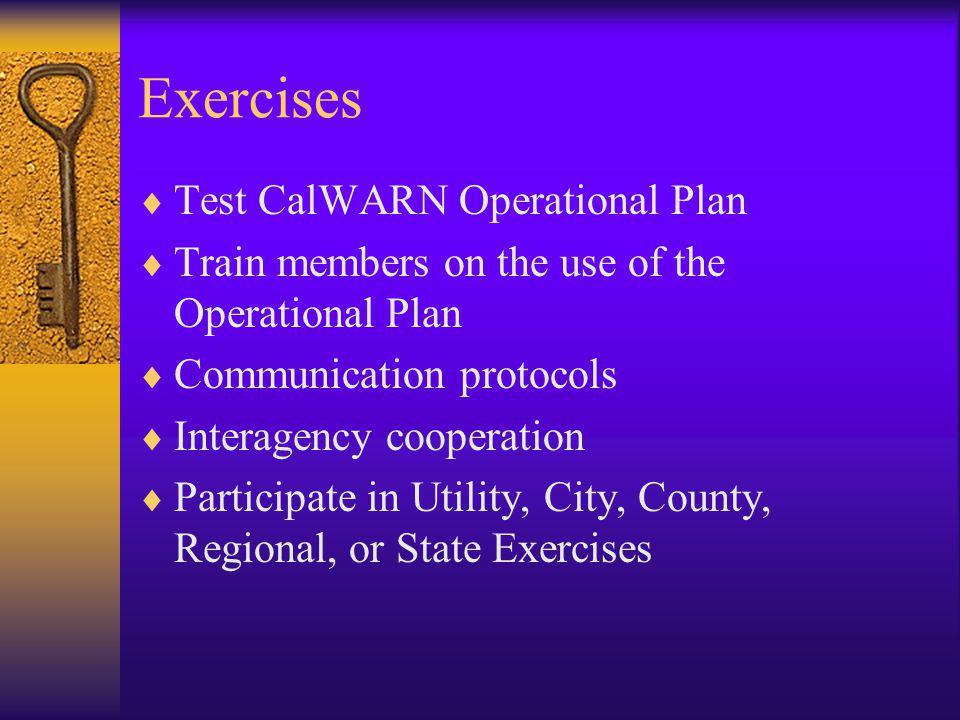 Exercises Test CalWARN Operational Plan