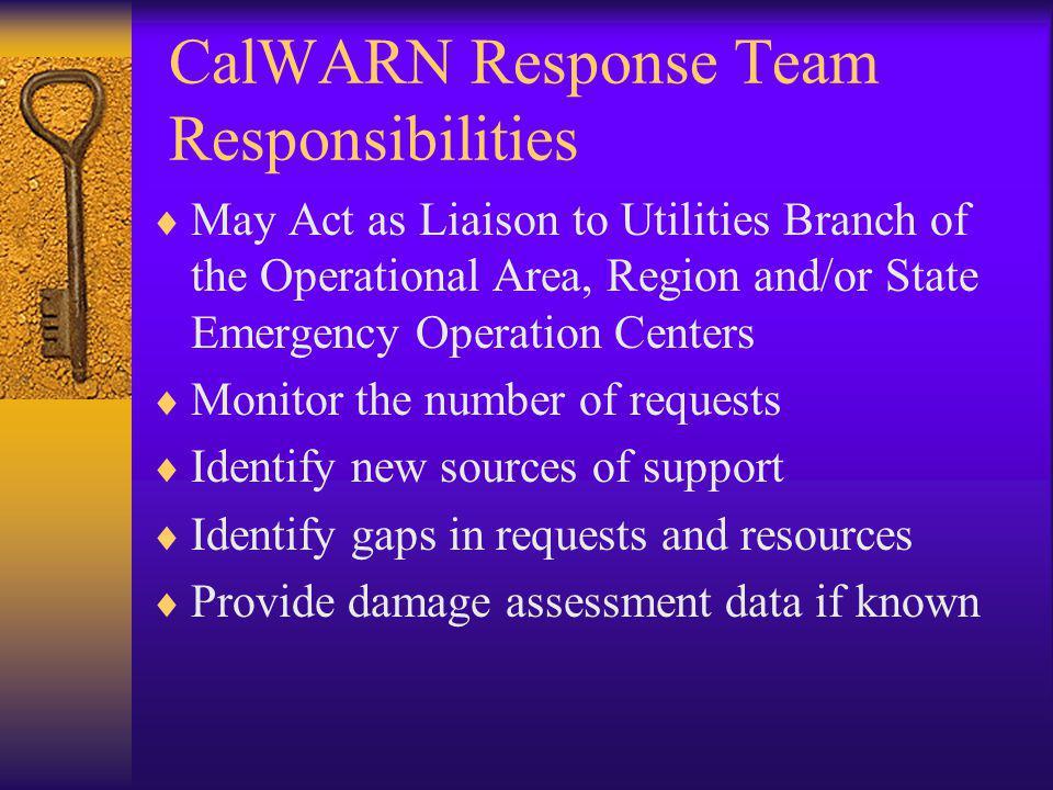 CalWARN Response Team Responsibilities