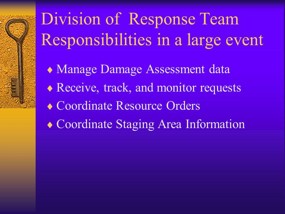 Division of Response Team Responsibilities in a large event