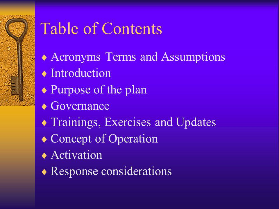 Table of Contents Acronyms Terms and Assumptions Introduction