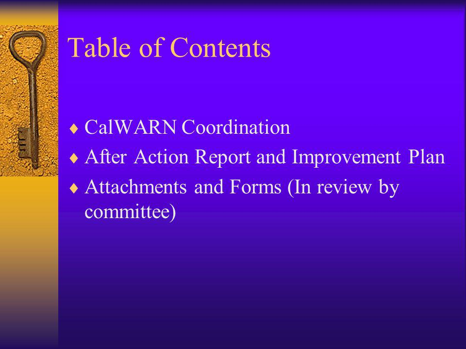 Table of Contents CalWARN Coordination