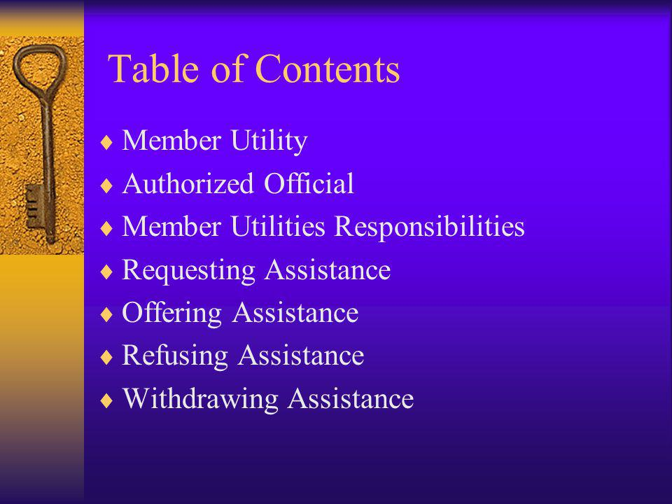 Table of Contents Member Utility Authorized Official