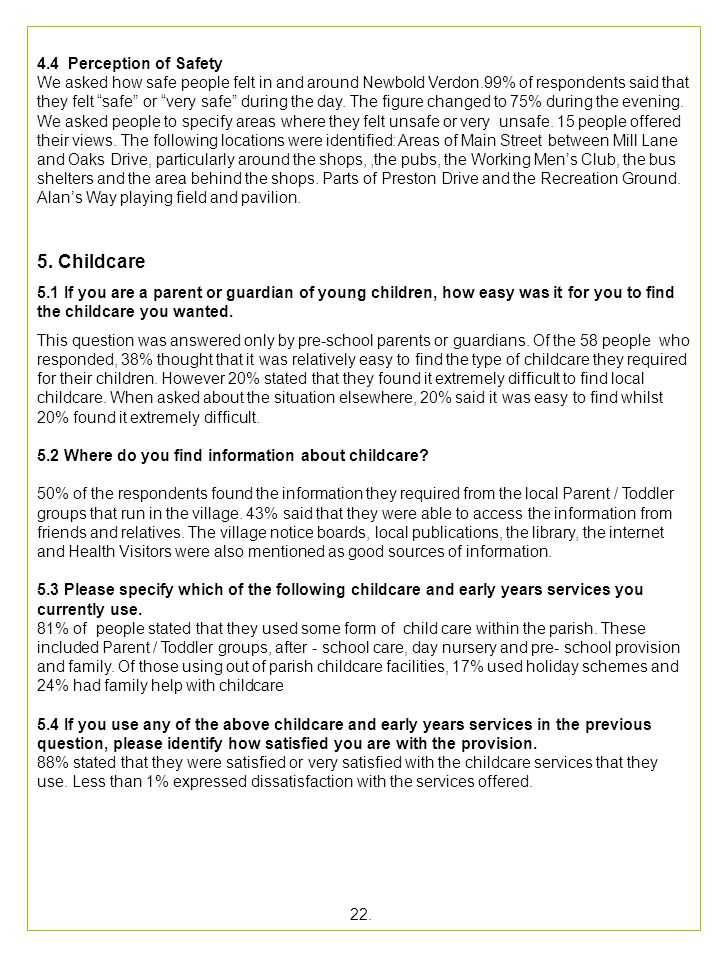 22. 5. Childcare 4.4 Perception of Safety