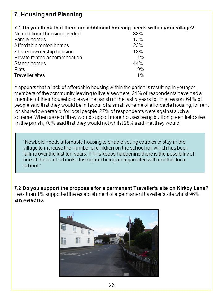 7. Housing and Planning 7.1 Do you think that there are additional housing needs within your village