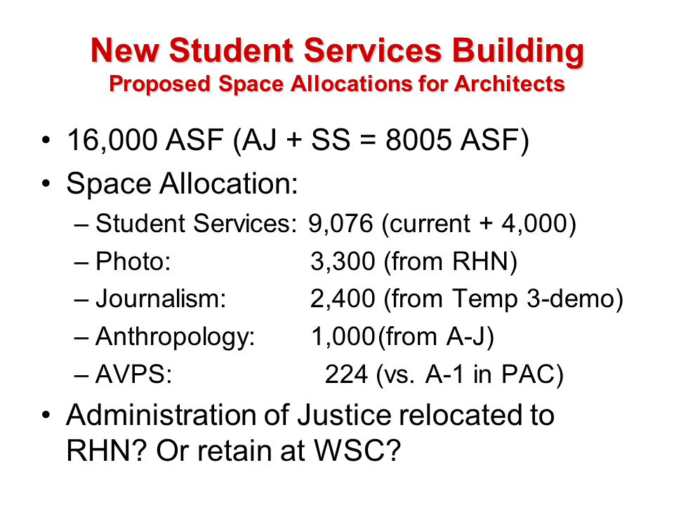 New Student Services Building Proposed Space Allocations for Architects