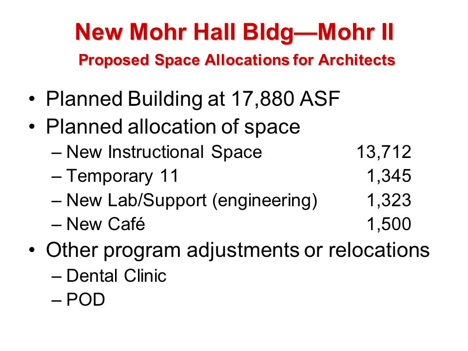 New Mohr Hall Bldg—Mohr II Proposed Space Allocations for Architects