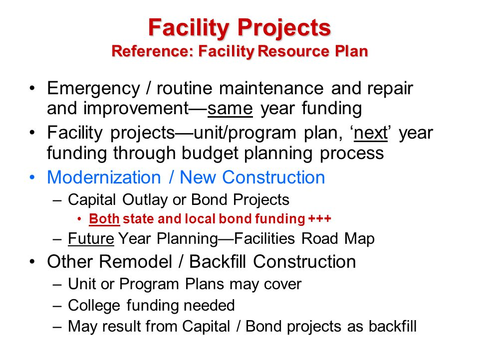 Facility Projects Reference: Facility Resource Plan