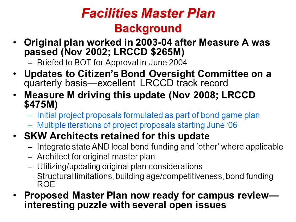 Facilities Master Plan Background