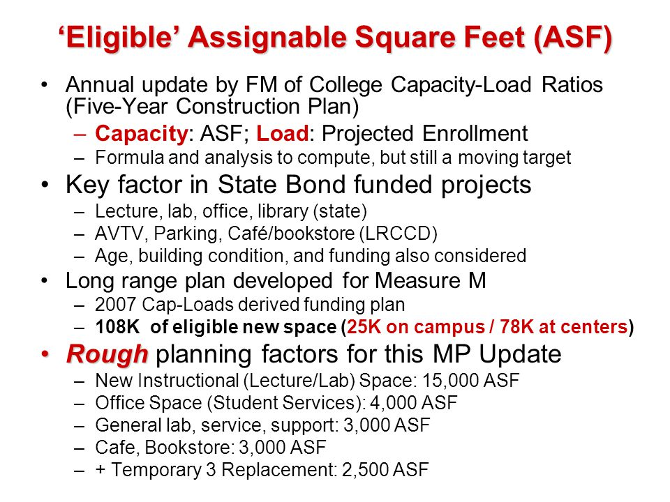 'Eligible' Assignable Square Feet (ASF)