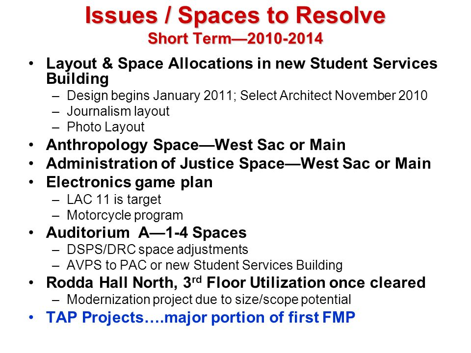 Issues / Spaces to Resolve Short Term—2010-2014