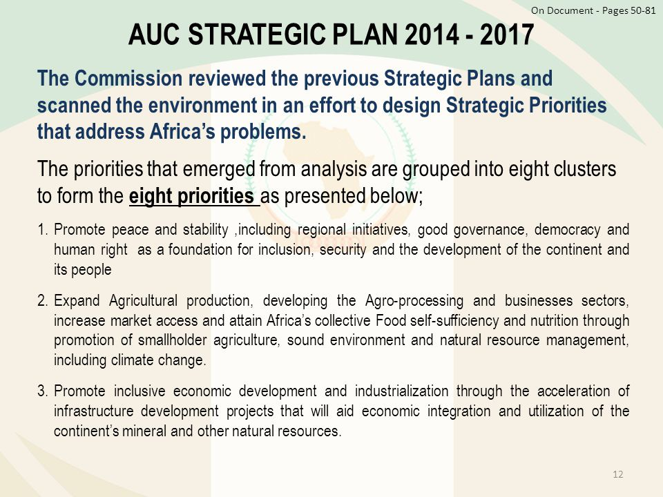 On Document - Pages AUC STRATEGIC PLAN