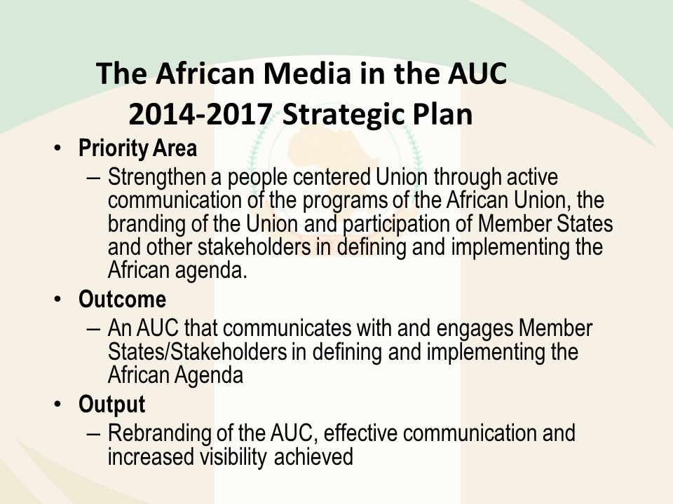The African Media in the AUC Strategic Plan