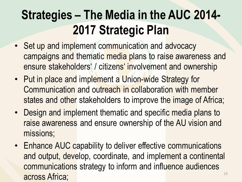 Strategies – The Media in the AUC 2014-2017 Strategic Plan