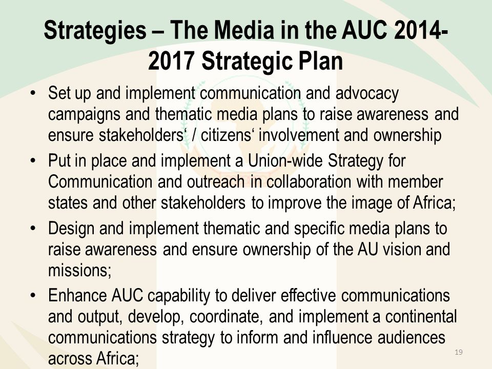 Strategies – The Media in the AUC Strategic Plan