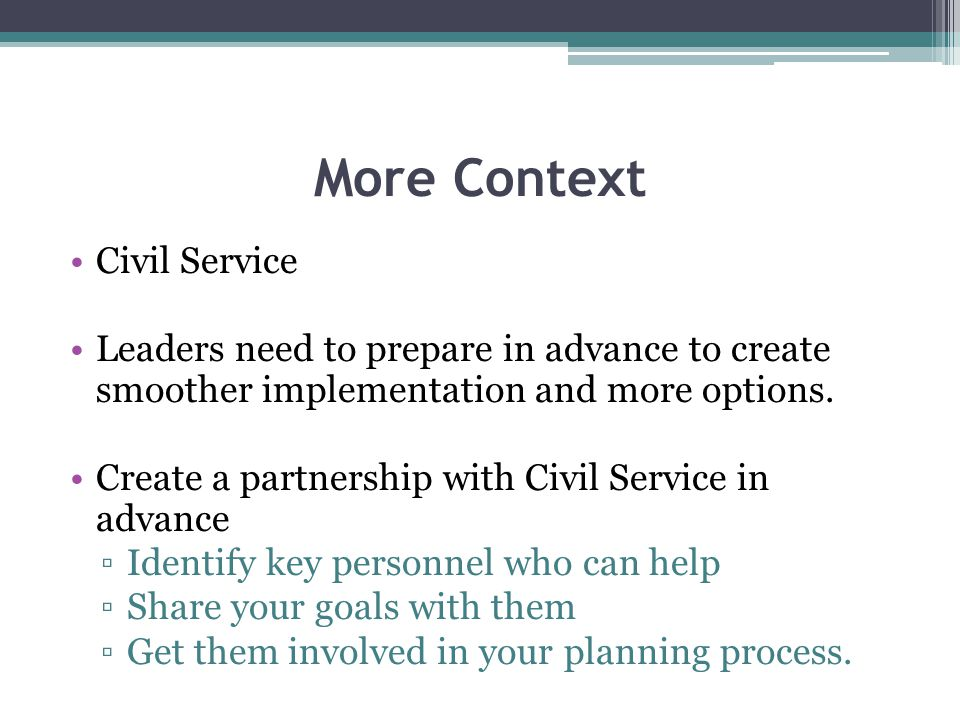 More Context Civil Service