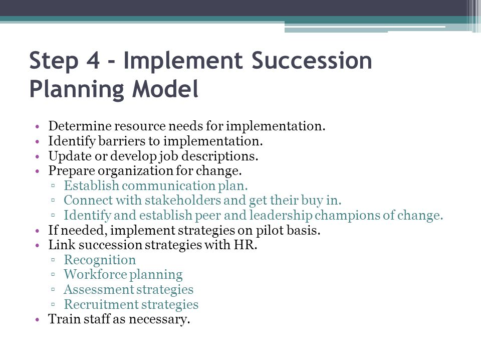 Step 4 - Implement Succession Planning Model