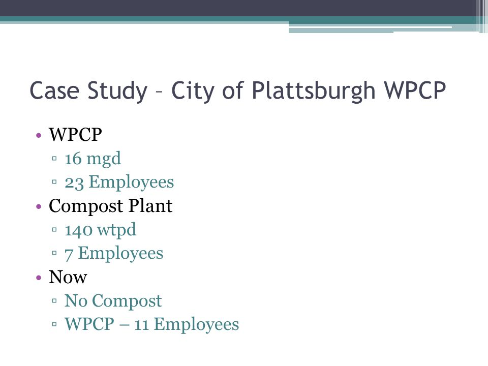 Case Study – City of Plattsburgh WPCP