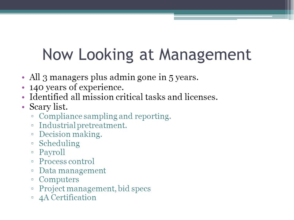 Now Looking at Management