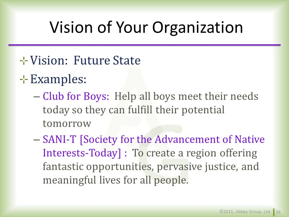 Vision of Your Organization
