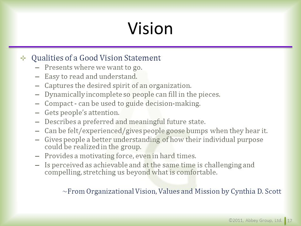 Vision Qualities of a Good Vision Statement