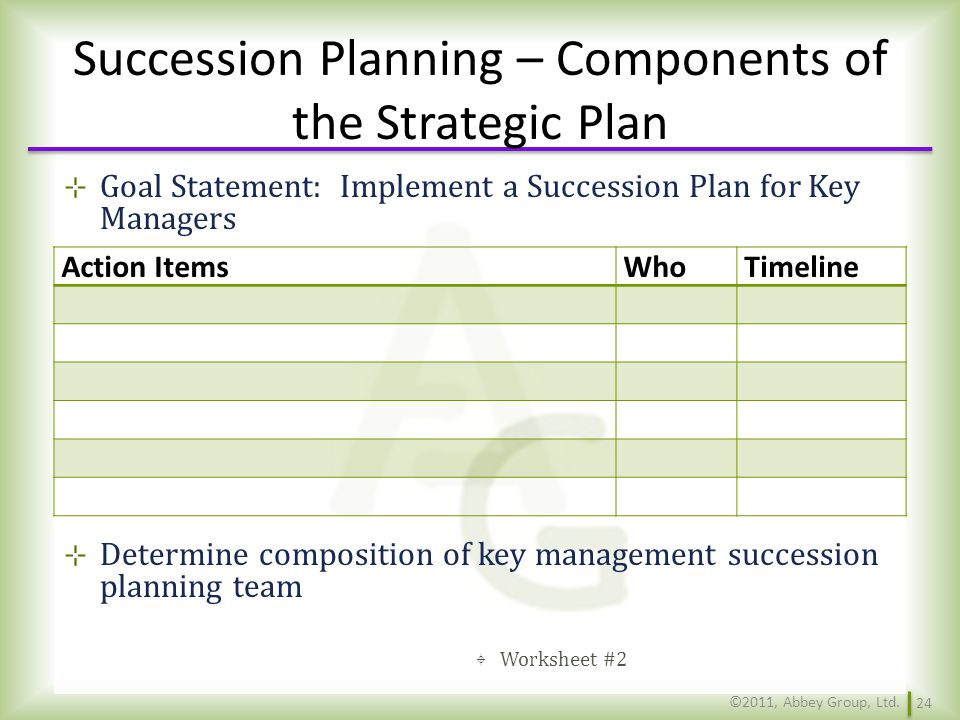 Succession Planning – Components of the Strategic Plan