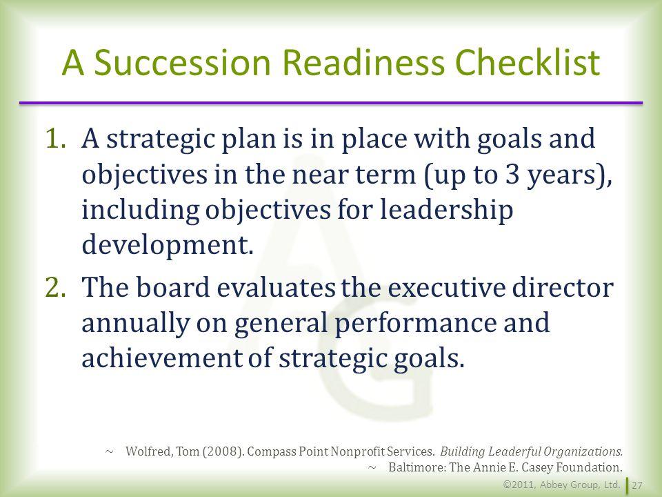 A Succession Readiness Checklist
