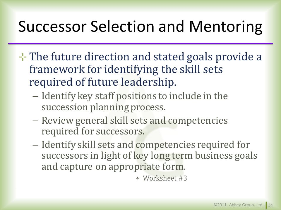 Successor Selection and Mentoring