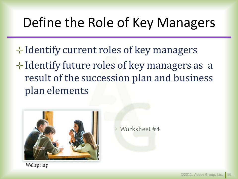 Define the Role of Key Managers